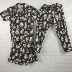 Harga piyama baju tidur pajamas wanita dewasa cp 3 in 1 katun motif wajah001   | HARGALOKA.COM