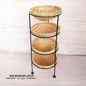 Harga rak bawang rak bumbu susun 4 rak bawang jogja   hitam diameter 25   HARGALOKA.COM