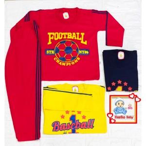 Harga setelan baju anak lengan panjang piyama gambar bola   biru | HARGALOKA.COM