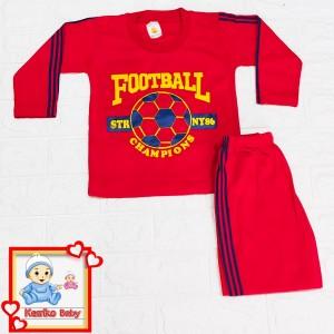 Harga setelan baju anak lengan panjang piyama gambar bola   merah | HARGALOKA.COM