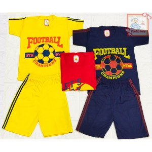Harga setelan baju anak lengan pendek gambar bola   kuning | HARGALOKA.COM