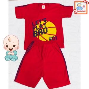 Harga setelan baju anak lengan pendek gambar bola   merah | HARGALOKA.COM