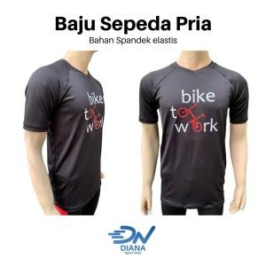Harga baju sepeda pria lengan pendek warna hitam atasan baju sepedah cowok   | HARGALOKA.COM