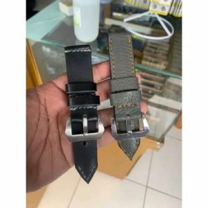 Harga strap tali jam tangan kulit asli size 24mm warna hitam dan abu abu   | HARGALOKA.COM