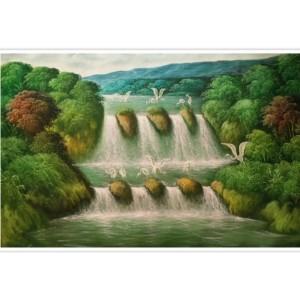 Harga lukisan pemandangan air terjun 85 x 135 cm   | HARGALOKA.COM