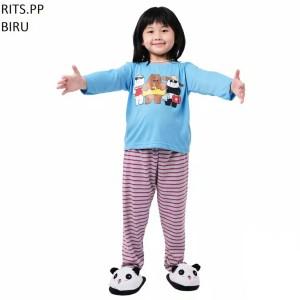 Harga setelan baju tidur anak cowok cewek lengan panjang rits pp murah   size | HARGALOKA.COM