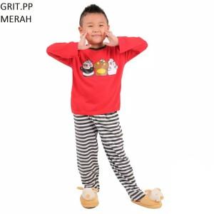 Harga setelan baju tidur anak cowok cewek lengan panjang grit pp murah   size | HARGALOKA.COM