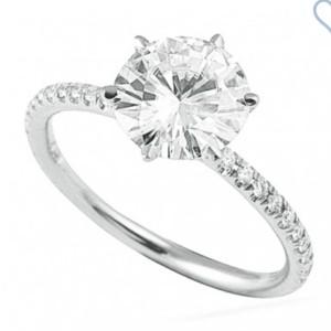 Harga cincin nikah tunangan solitaire emas moissanite 6 5mm 1ct pass diamond   | HARGALOKA.COM