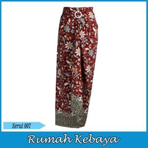 Harga rok bawahan batik print wanita lilit halus serut merah marun bunga 007   | HARGALOKA.COM