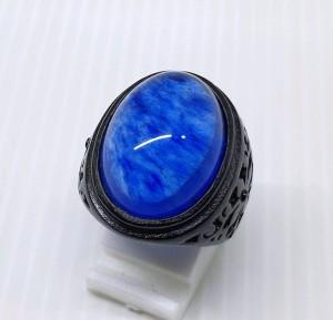 Harga cincin blue safir berserat murah meriah ring titanium black   | HARGALOKA.COM