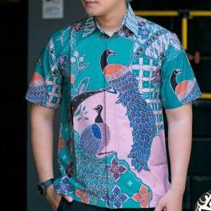 Harga kemeja batik tulis lengan pendek lapis trikot cendra   hijau toska | HARGALOKA.COM