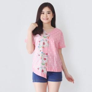 Harga blouse batik ba294g lengan pendek ld 98 atasan wanita batik | HARGALOKA.COM