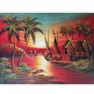 Harga lukisan pantai senja 60 x 80 cm   | HARGALOKA.COM