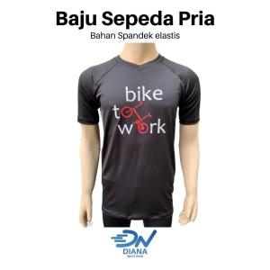 Harga baju sepeda cowok warna hitam lengan pendek baju sepedah pria   | HARGALOKA.COM