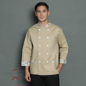 Harga chef series signature batik tangan panjang baju koki   krem     HARGALOKA.COM