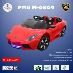 Harga mainan anak mobil aki pmb m 6869 lamborgini merah | HARGALOKA.COM