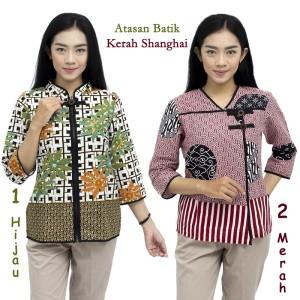 Harga atasan batik blouse batik atasan batik kerja batik kerah shanghai   merah | HARGALOKA.COM