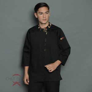 Harga chef series signature batik tangan panjang baju koki   hitam     HARGALOKA.COM