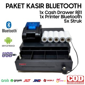 Harga paket alat kasir android bluetooth cash drawer printer kertas | HARGALOKA.COM