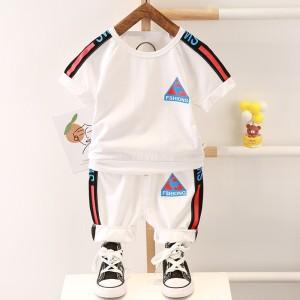 Harga setelan pakaian baju kaos celana import anak laki balita cowok l17   putih size | HARGALOKA.COM