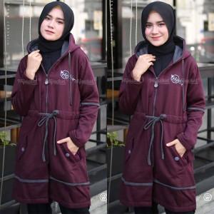 Harga jaket jacket wanita cewek hijacket panjang muslimah hijaber aur ungu   | HARGALOKA.COM