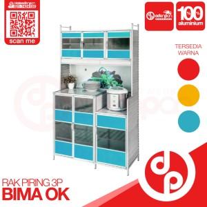 Harga lemari rak piring 3 pintu bima ok bina karya   free ongkir odenpan   biru | HARGALOKA.COM