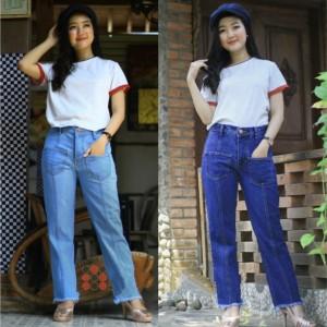 Harga celana jeans wanita celana boyfriend sabrina kantong depan   biru medium | HARGALOKA.COM