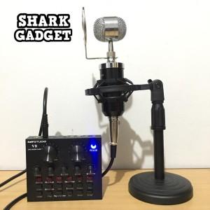 Harga paket microphone bm8000 sound card v8 stand meja mic live | HARGALOKA.COM
