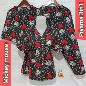 Harga baju tidur piyama wanita dewasa 3in1 mickey mouse harga grosir murah     HARGALOKA.COM