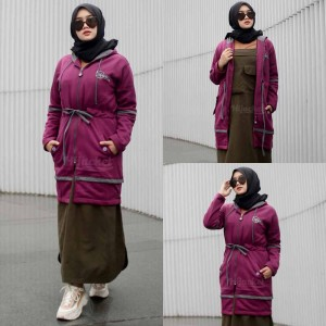 Harga jaket jacket wanita cewek muslimah panjang hijabers hijacket aurelia   ungu | HARGALOKA.COM