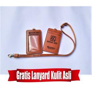 Harga name tag id card holder bank bri kulit asli bonus tali   HARGALOKA.COM
