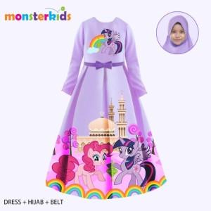 Harga baju muslim anak perempuan gamis my little pony ungu 3 in 1 teen   10 11 | HARGALOKA.COM