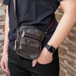 Harga tas pinggang kulit pria dompet hp kulit asli   coklat tua     HARGALOKA.COM