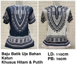 Harga baju batik uje bangkok black amp white fit to xl rayon baju uje | HARGALOKA.COM