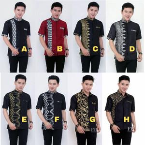 Harga baju koko pria lengan pendek   koko kombinasi batik modern murah   | HARGALOKA.COM