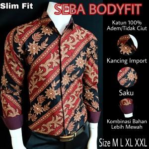 Harga batik slimfit premium seba l188217   hitam merah | HARGALOKA.COM