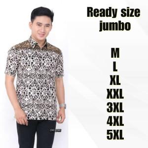 Harga baju kemeja batik pria modern ada saku depan lengan pendek ls 163   putih   HARGALOKA.COM