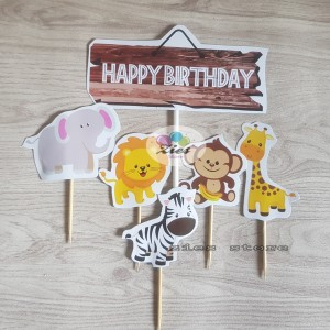 Harga cake topper happy birthday animal hiasan kue karakter | HARGALOKA.COM