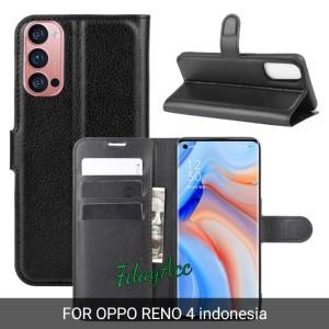 Harga oppo reno 4 indonesia flip cover leather case kulit model dompet   | HARGALOKA.COM