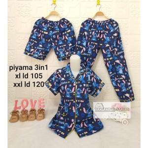 Harga 3in1 piyama motif stitch   baju tidur wanita     HARGALOKA.COM