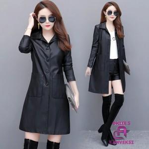 Harga original jaket coat panjang wanita semi kulit sintetis   hitam | HARGALOKA.COM