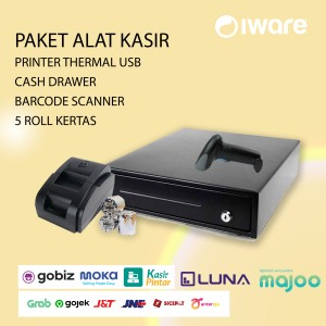 Harga paket alat kasir cash drawer printer thermal usb scanner kertas | HARGALOKA.COM