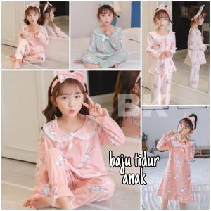 Harga baju tidur anak perempuan korea or piyama import celana panjang daster   strawberry pink size | HARGALOKA.COM