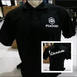 Harga polo shirt pria kaos kerah piaggio vespa   hitam | HARGALOKA.COM