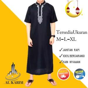 Harga baju jubah gamis muslim pria dewasa arab pria bordir   hitam pendek | HARGALOKA.COM