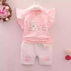 Harga setelan baju anak balita import set kaos anak cewek sg2   biru   HARGALOKA.COM