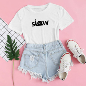Harga baju kaos distro slow blus wanita slow t shirt casual tulisan slow   xs | HARGALOKA.COM