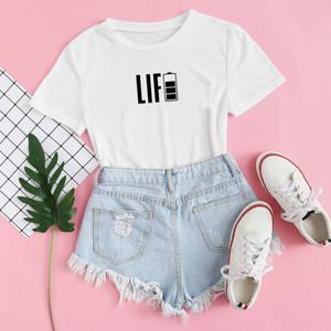 Harga baju kaos distro life blus wanita life tshirt casual life   xs | HARGALOKA.COM