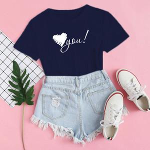 Harga baju kaos distro love you blus wanita love you t shirt casual love   xs | HARGALOKA.COM