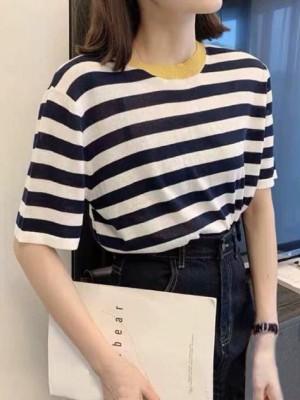 Harga kaos fashion katun adem big size modernshe   colorfull stripe   | HARGALOKA.COM